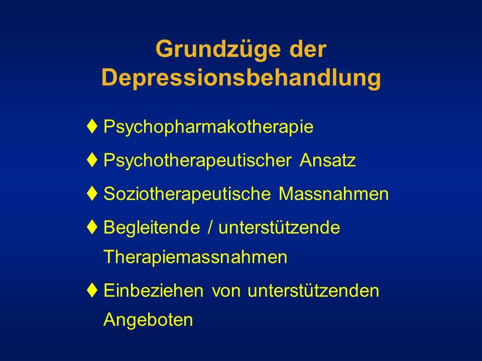 Grundzüge der Depressionsbehandlung Psychopharmakotherapie Psychotherapeutischer Ansatz Soziotherapeutische Massnahmen Begleitende / unterstützende Th