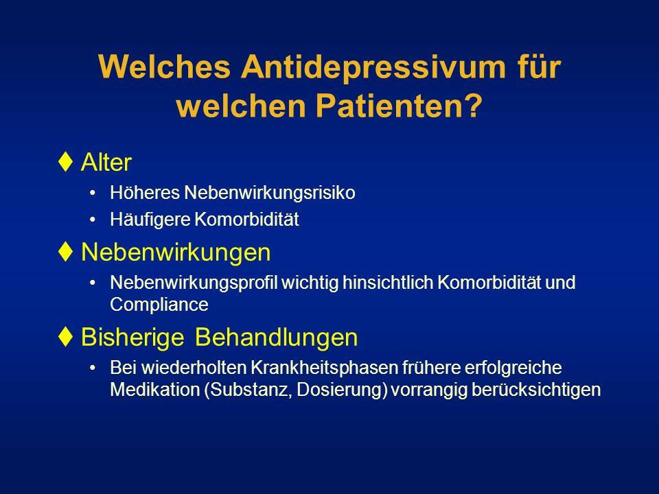 Welches Antidepressivum für welchen Patienten? Alter Höheres Nebenwirkungsrisiko Häufigere Komorbidität Nebenwirkungen Nebenwirkungsprofil wichtig hin