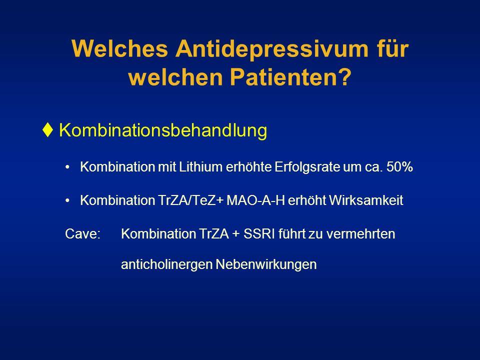 Welches Antidepressivum für welchen Patienten? Kombinationsbehandlung Kombination mit Lithium erhöhte Erfolgsrate um ca. 50% Kombination TrZA/TeZ+ MAO