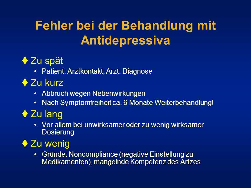 Fehler bei der Behandlung mit Antidepressiva Zu spät Patient: Arztkontakt; Arzt: Diagnose Zu kurz Abbruch wegen Nebenwirkungen Nach Symptomfreiheit ca