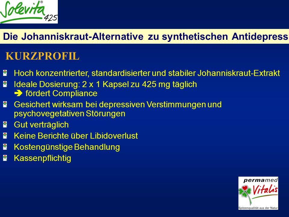 Hoch konzentrierter, standardisierter und stabiler Johanniskraut-Extrakt Ideale Dosierung: 2 x 1 Kapsel zu 425 mg täglich fördert Compliance Gesichert