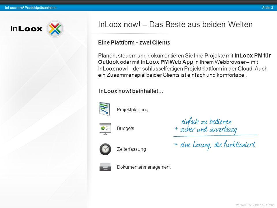 Seite 3 InLoox now. Produktpräsentation © 2001-2012 InLoox GmbH InLoox now.