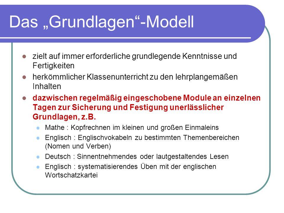 Das Grundlagen-Modell zielt auf immer erforderliche grundlegende Kenntnisse und Fertigkeiten herkömmlicher Klassenunterricht zu den lehrplangemäßen In