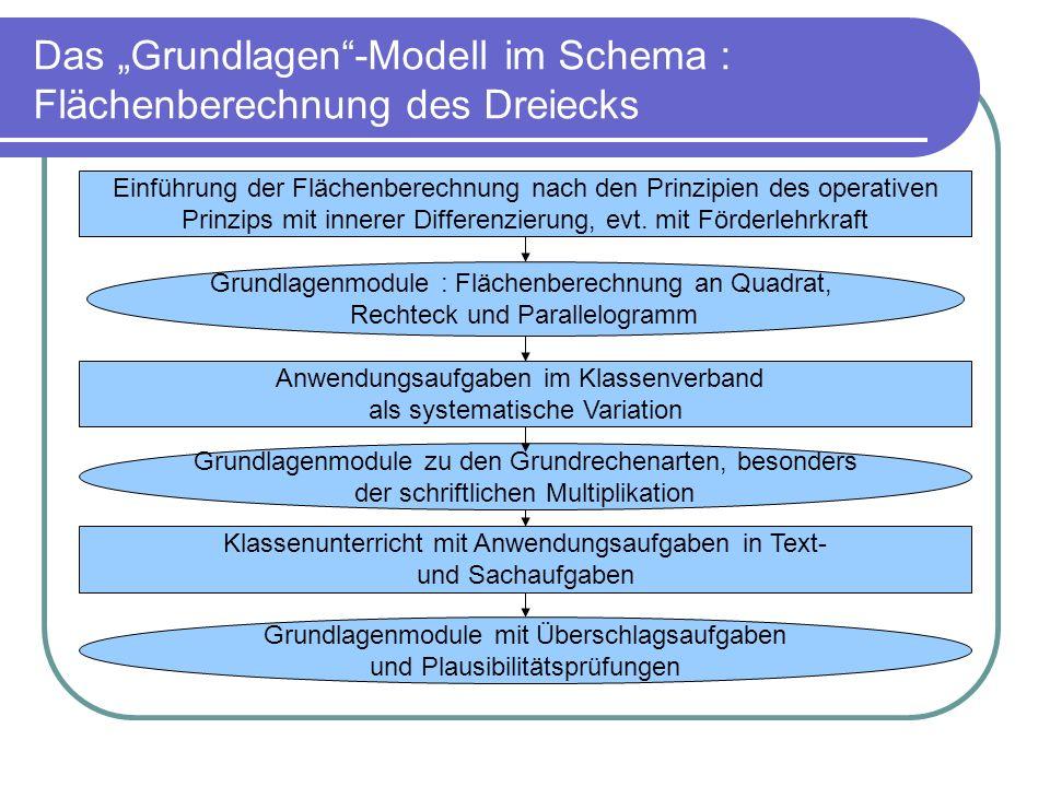Das Grundlagen-Modell im Schema : Flächenberechnung des Dreiecks Einführung der Flächenberechnung nach den Prinzipien des operativen Prinzips mit inne
