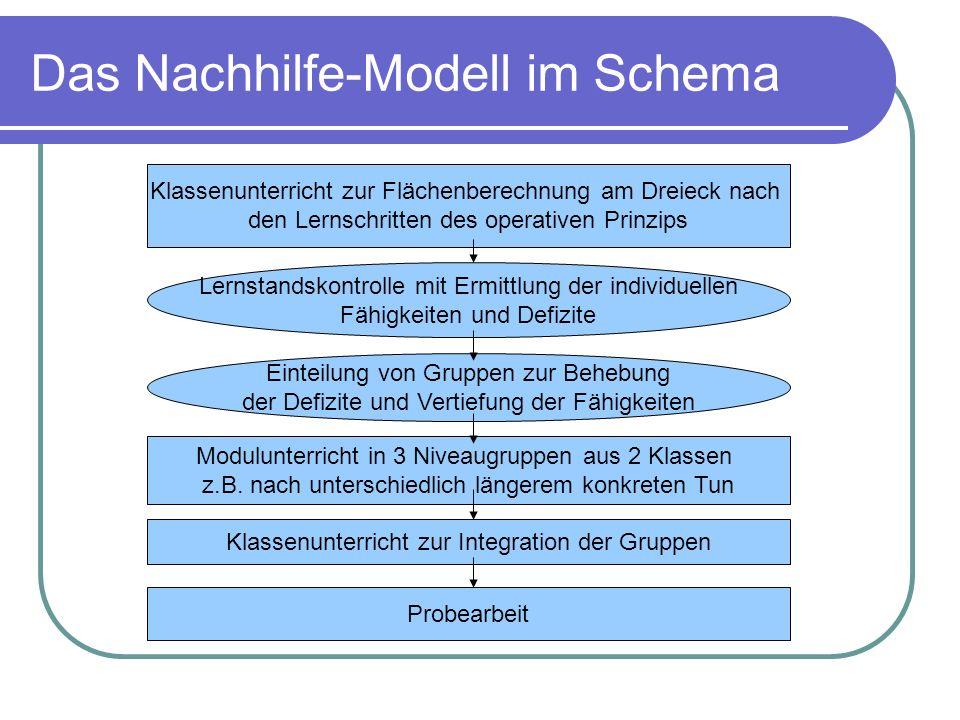 Das Nachhilfe-Modell im Schema Klassenunterricht zur Flächenberechnung am Dreieck nach den Lernschritten des operativen Prinzips Lernstandskontrolle m