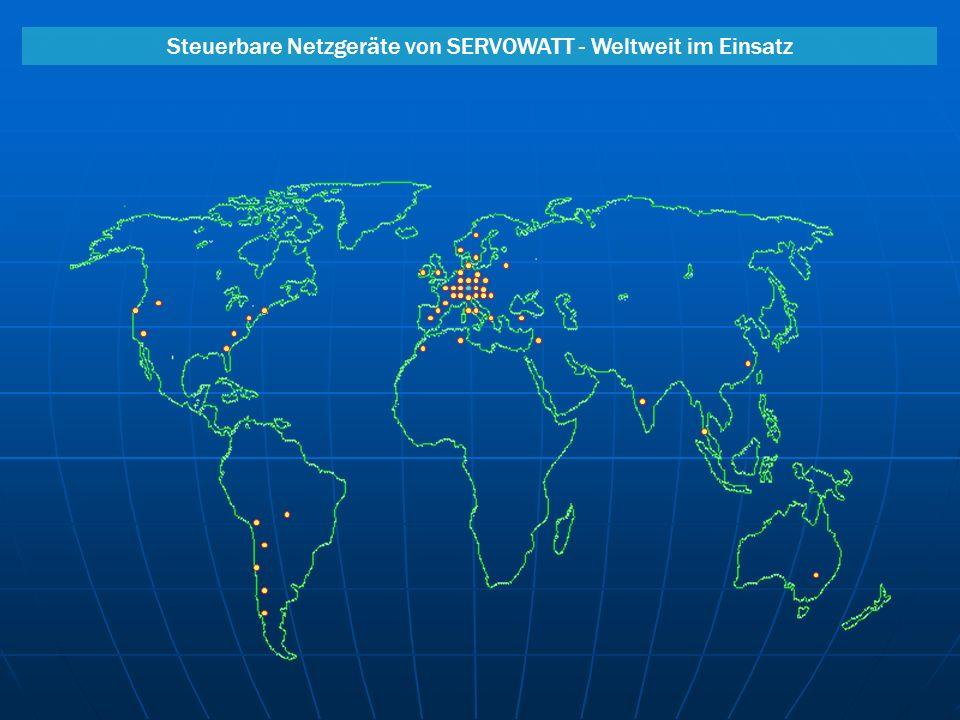 Steuerbare Netzgeräte von SERVOWATT - Weltweit im Einsatz AnlagenMaschinenbauMesstechnikGerätetechnik Galvanotechnik AutomationForschung & Entwicklung Luft- und Raumfahrt Steuerung des Meßroboters für Ultraschall-Rißprüfung am Reaktormantel Hochdynamische Steuerung von Zustellachsen in Werk- zeug- und Meßmaschinen 19 Technik: 4Q-Regler höchster Präzision mit Linearendstufen z.B.