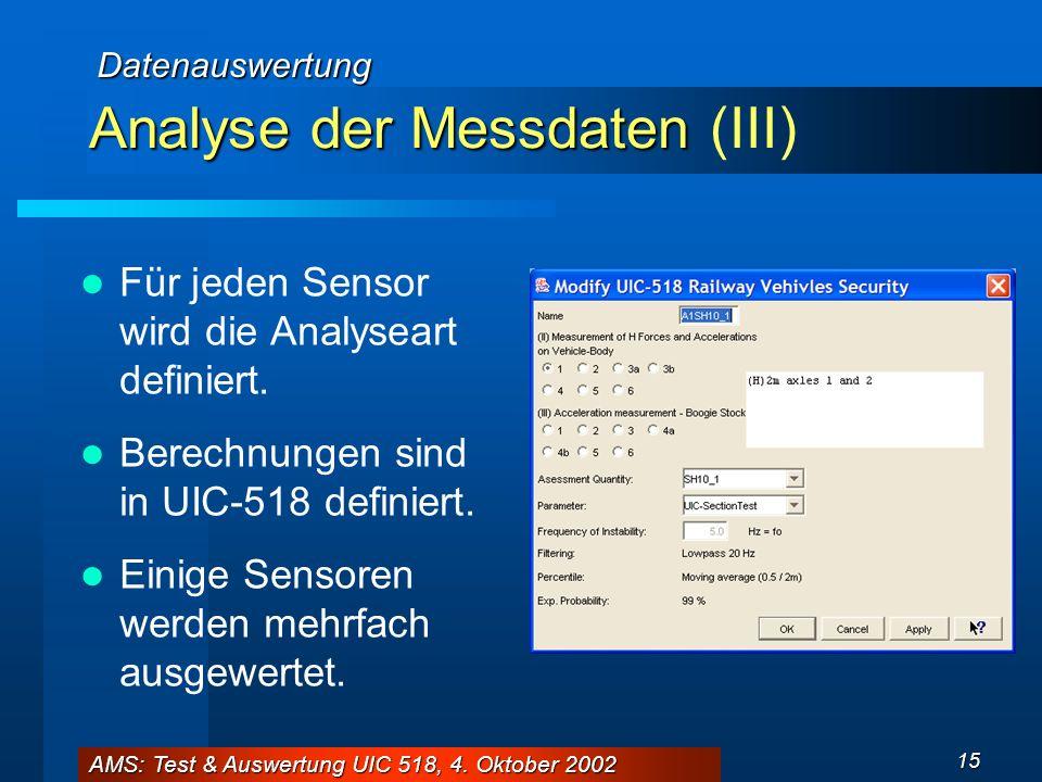 AMS: Test & Auswertung UIC 518, 4. Oktober 2002 15 Analyse der Messdaten Analyse der Messdaten (III) Für jeden Sensor wird die Analyseart definiert. B