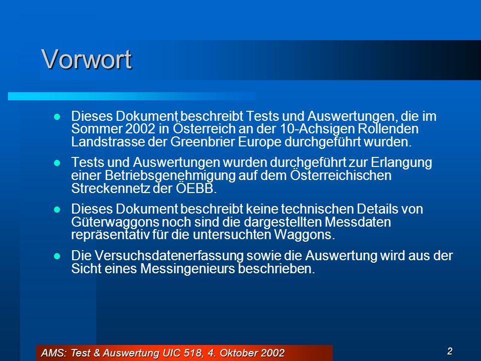 AMS: Test & Auswertung UIC 518, 4. Oktober 2002 2 Vorwort Dieses Dokument beschreibt Tests und Auswertungen, die im Sommer 2002 in Österreich an der 1