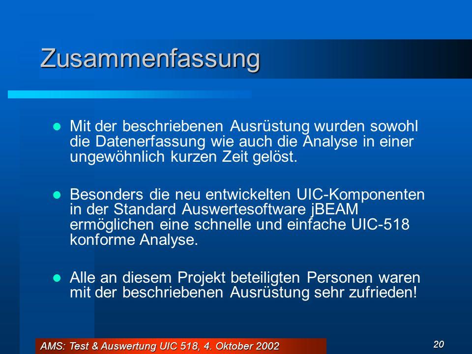 AMS: Test & Auswertung UIC 518, 4. Oktober 2002 20 Zusammenfassung Mit der beschriebenen Ausrüstung wurden sowohl die Datenerfassung wie auch die Anal