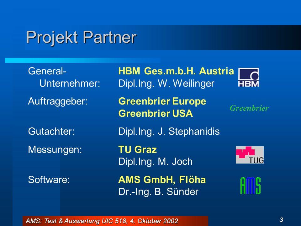 AMS: Test & Auswertung UIC 518, 4. Oktober 2002 3 Projekt Partner General-HBM Ges.m.b.H. Austria Unternehmer:Dipl.Ing. W. Weilinger Auftraggeber:Green