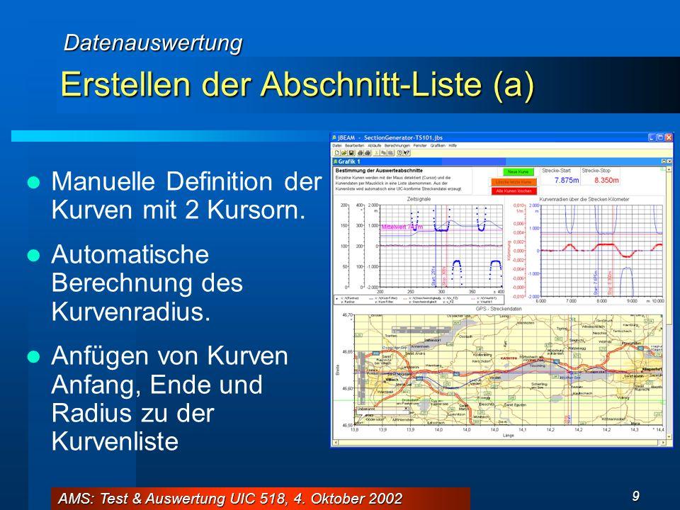 AMS: Test & Auswertung UIC 518, 4. Oktober 2002 9 Erstellen der Abschnitt-Liste (a) Manuelle Definition der Kurven mit 2 Kursorn. Automatische Berechn