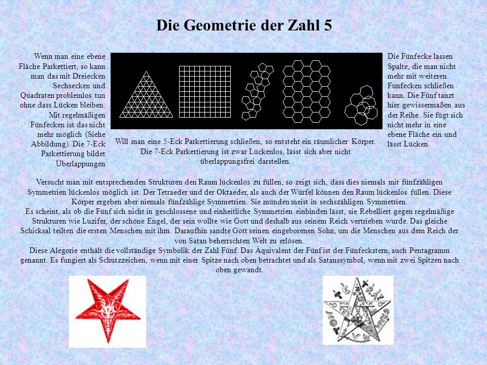 Die Geometrie der Zahl 5 Versucht man mit entsprechenden Strukturen den Raum lückenlos zu füllen, so zeigt sich, dass dies niemals mit fünfzähligen Symmetrien lückenlos möglich ist.