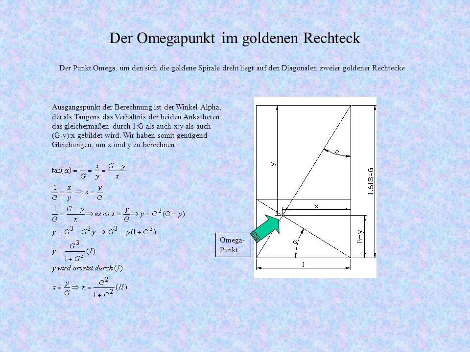 Der Omegapunkt im goldenen Rechteck Ausgangspunkt der Berechnung ist der Winkel Alpha, der als Tangens das Verhältnis der beiden Ankatheten, das gleichermaßen durch 1:G als auch x:y als auch (G-y):x gebildet wird.