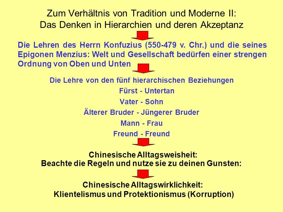 Zum Verhältnis von Tradition und Moderne II: Das Denken in Hierarchien und deren Akzeptanz Die Lehre von den fünf hierarchischen Beziehungen Fürst - U