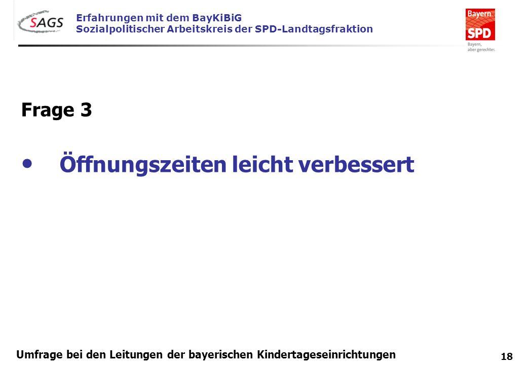 Erfahrungen mit dem BayKiBiG Sozialpolitischer Arbeitskreis der SPD-Landtagsfraktion 18 Umfrage bei den Leitungen der bayerischen Kindertageseinrichtu