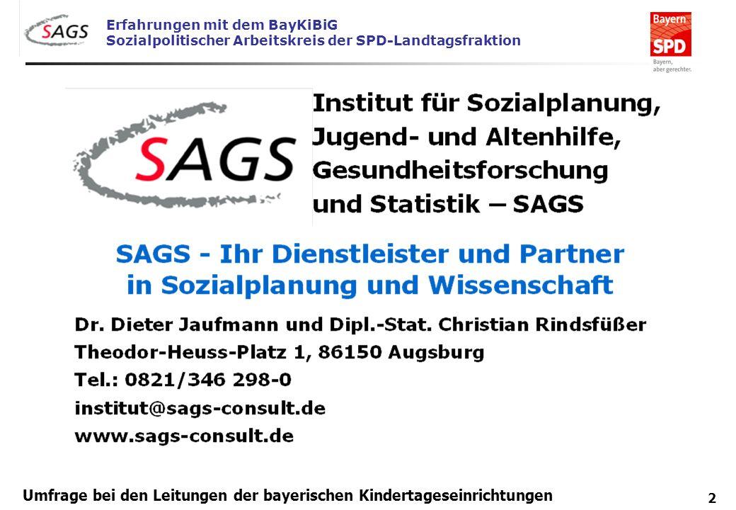 Erfahrungen mit dem BayKiBiG Sozialpolitischer Arbeitskreis der SPD-Landtagsfraktion 2 Umfrage bei den Leitungen der bayerischen Kindertageseinrichtun
