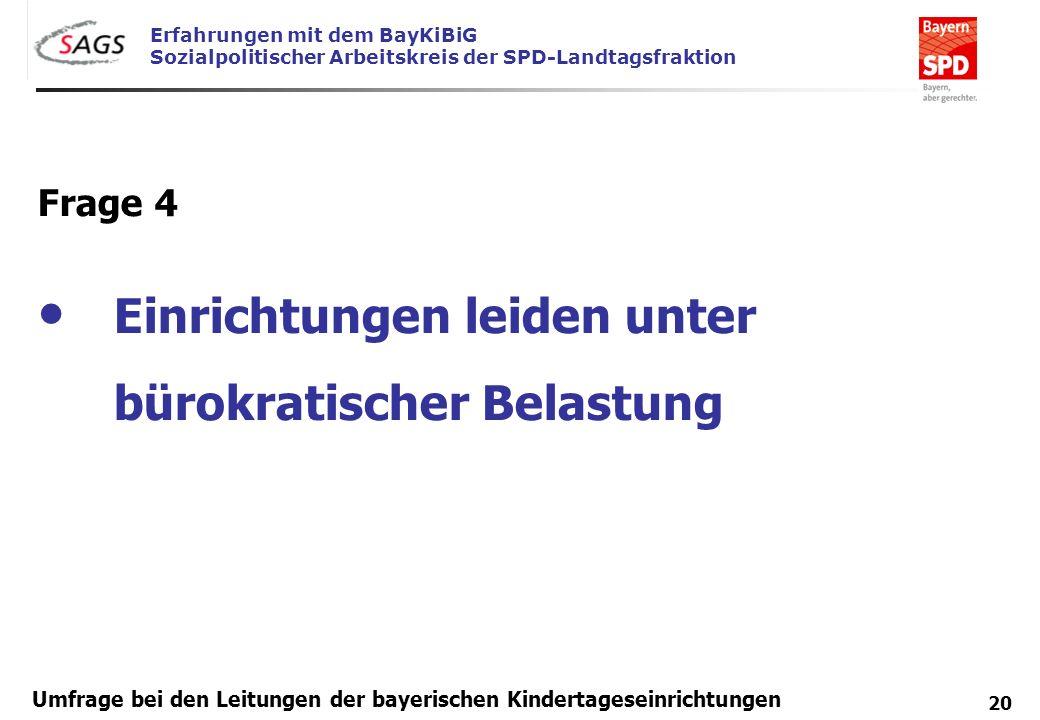 Erfahrungen mit dem BayKiBiG Sozialpolitischer Arbeitskreis der SPD-Landtagsfraktion 20 Umfrage bei den Leitungen der bayerischen Kindertageseinrichtu