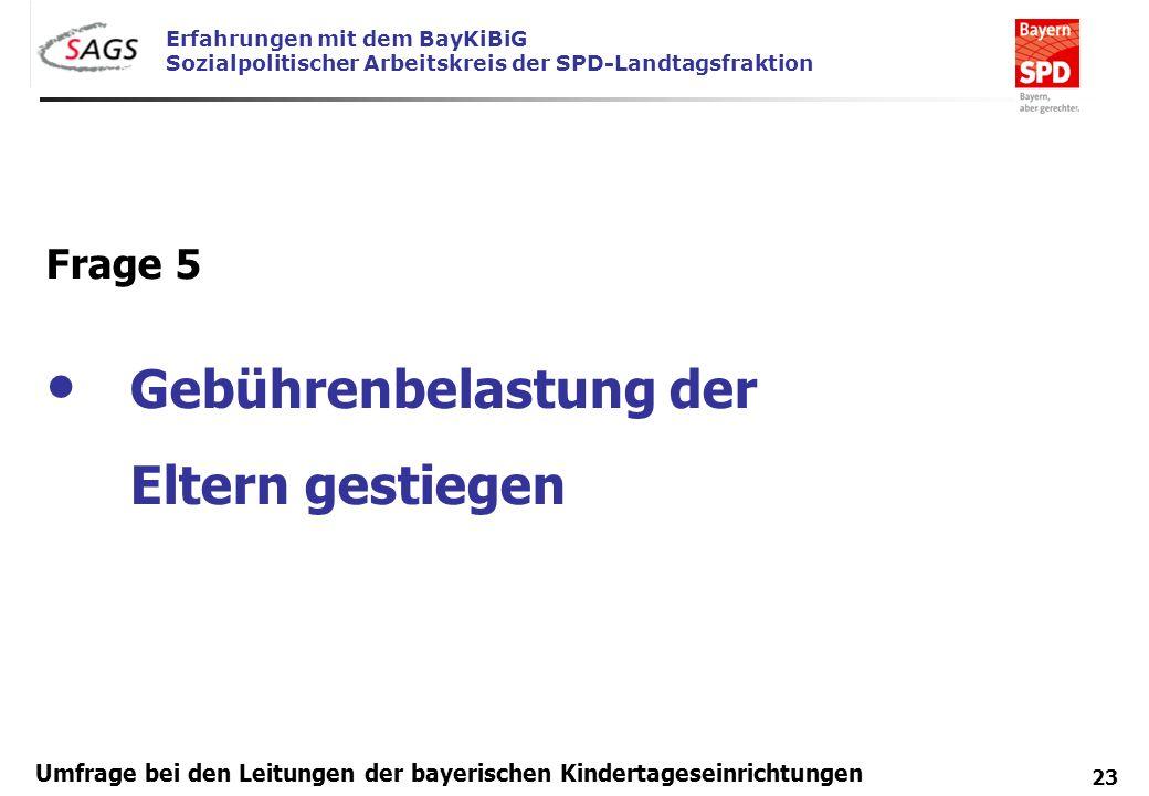 Erfahrungen mit dem BayKiBiG Sozialpolitischer Arbeitskreis der SPD-Landtagsfraktion 23 Umfrage bei den Leitungen der bayerischen Kindertageseinrichtu