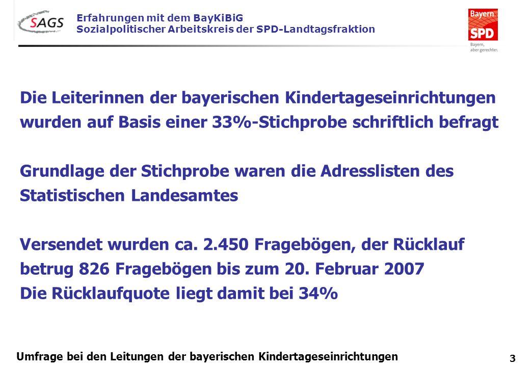 Erfahrungen mit dem BayKiBiG Sozialpolitischer Arbeitskreis der SPD-Landtagsfraktion 3 Umfrage bei den Leitungen der bayerischen Kindertageseinrichtun