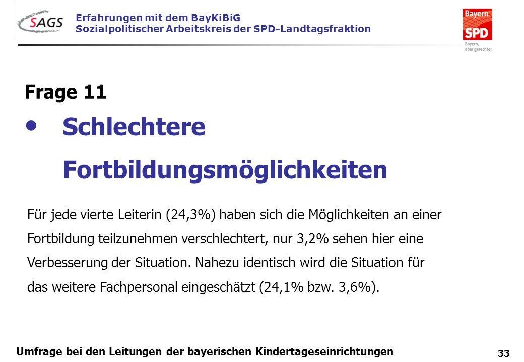 Erfahrungen mit dem BayKiBiG Sozialpolitischer Arbeitskreis der SPD-Landtagsfraktion 33 Umfrage bei den Leitungen der bayerischen Kindertageseinrichtu