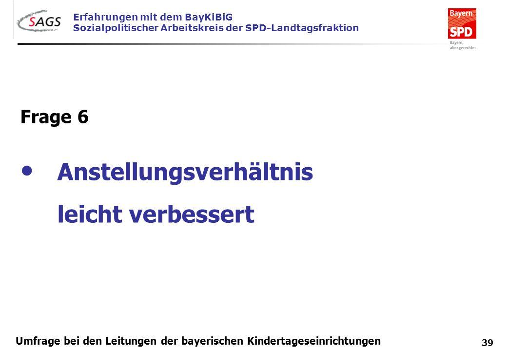 Erfahrungen mit dem BayKiBiG Sozialpolitischer Arbeitskreis der SPD-Landtagsfraktion 39 Umfrage bei den Leitungen der bayerischen Kindertageseinrichtu