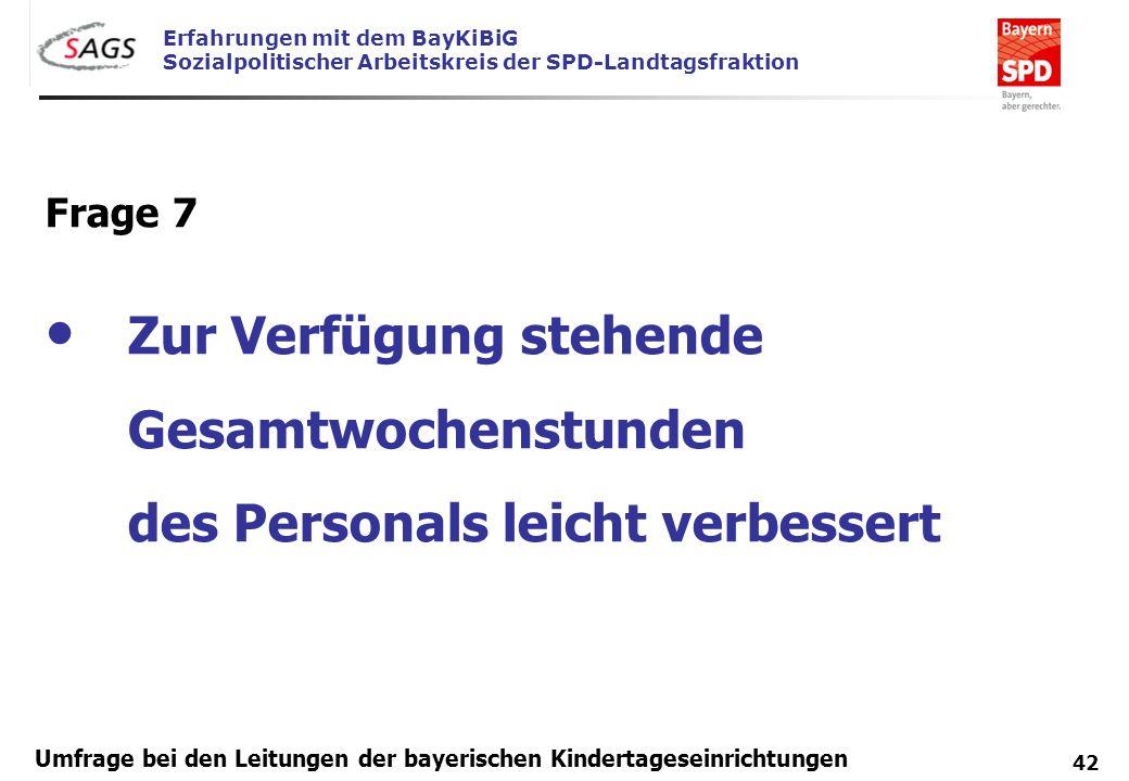 Erfahrungen mit dem BayKiBiG Sozialpolitischer Arbeitskreis der SPD-Landtagsfraktion 42 Umfrage bei den Leitungen der bayerischen Kindertageseinrichtu