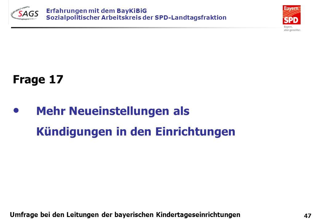 Erfahrungen mit dem BayKiBiG Sozialpolitischer Arbeitskreis der SPD-Landtagsfraktion 47 Umfrage bei den Leitungen der bayerischen Kindertageseinrichtu