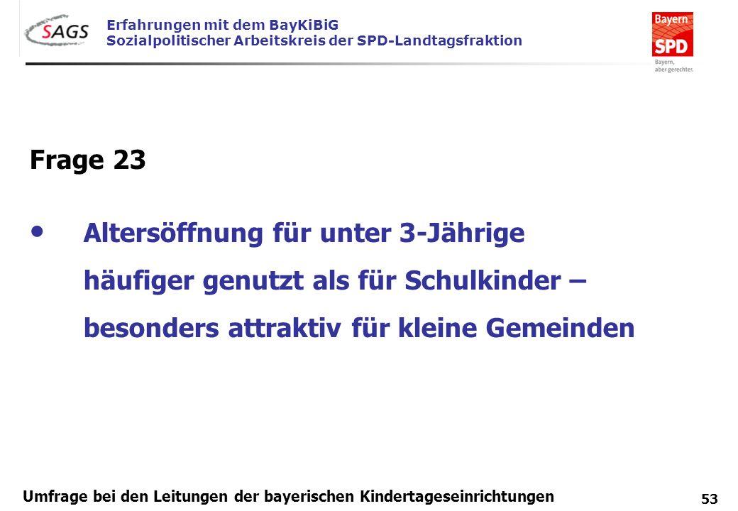Erfahrungen mit dem BayKiBiG Sozialpolitischer Arbeitskreis der SPD-Landtagsfraktion 53 Umfrage bei den Leitungen der bayerischen Kindertageseinrichtu