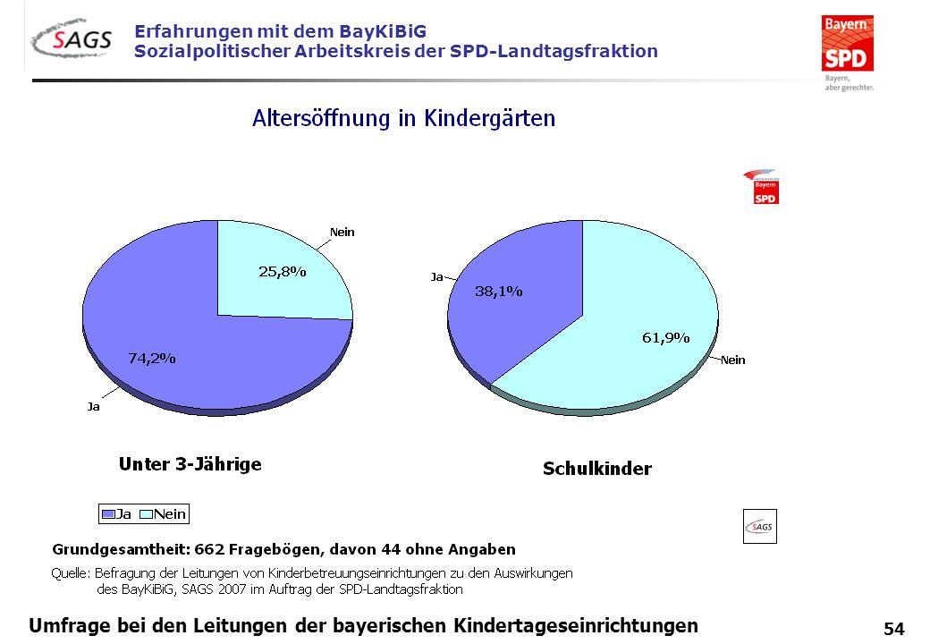 Erfahrungen mit dem BayKiBiG Sozialpolitischer Arbeitskreis der SPD-Landtagsfraktion 54 Umfrage bei den Leitungen der bayerischen Kindertageseinrichtu