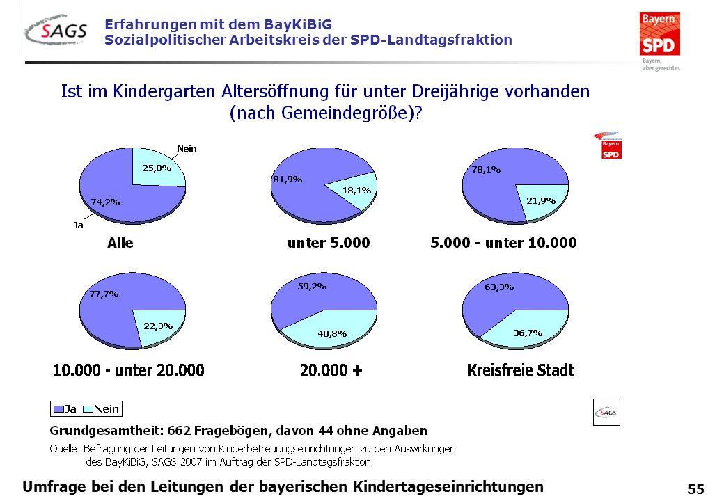 Erfahrungen mit dem BayKiBiG Sozialpolitischer Arbeitskreis der SPD-Landtagsfraktion 55 Umfrage bei den Leitungen der bayerischen Kindertageseinrichtu