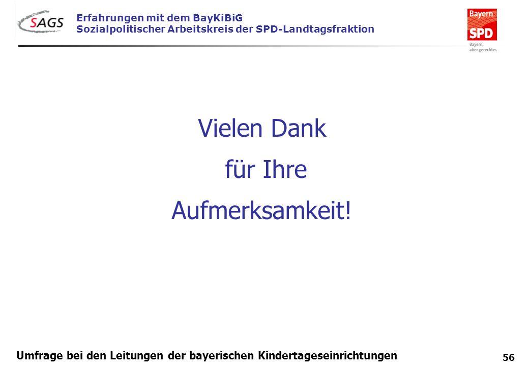 Erfahrungen mit dem BayKiBiG Sozialpolitischer Arbeitskreis der SPD-Landtagsfraktion 56 Umfrage bei den Leitungen der bayerischen Kindertageseinrichtu
