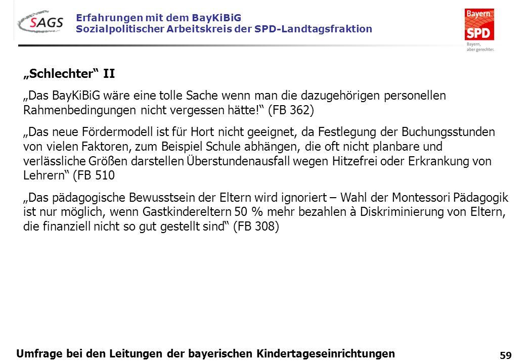 Erfahrungen mit dem BayKiBiG Sozialpolitischer Arbeitskreis der SPD-Landtagsfraktion 59 Umfrage bei den Leitungen der bayerischen Kindertageseinrichtu