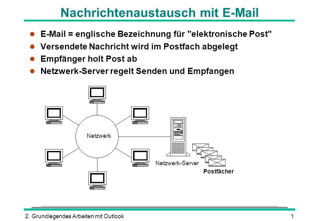 2. Grundlegendes Arbeiten mit Outlook1 Nachrichtenaustausch mit E-Mail l E-Mail = englische Bezeichnung für