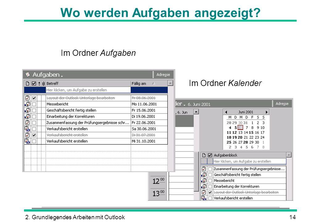 2.Grundlegendes Arbeiten mit Outlook14 Wo werden Aufgaben angezeigt.