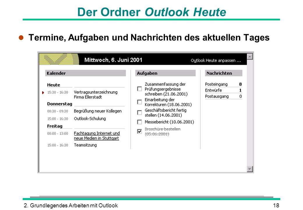 2. Grundlegendes Arbeiten mit Outlook18 Der Ordner Outlook Heute l Termine, Aufgaben und Nachrichten des aktuellen Tages