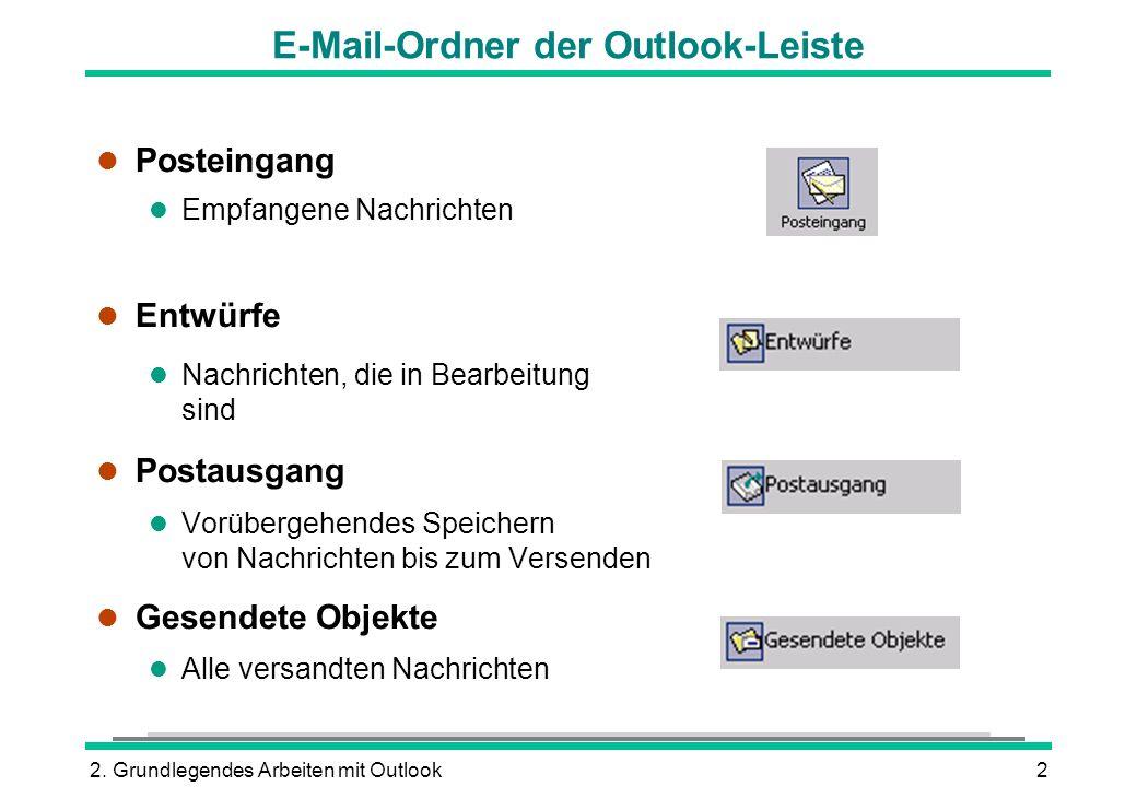 2. Grundlegendes Arbeiten mit Outlook2 E-Mail-Ordner der Outlook-Leiste l Posteingang l Empfangene Nachrichten l Entwürfe l Nachrichten, die in Bearbe
