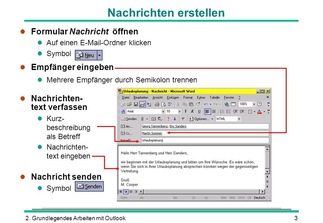 2. Grundlegendes Arbeiten mit Outlook3 l Formular Nachricht öffnen l Auf einen E-Mail-Ordner klicken l Symbol l Empfänger eingeben l Mehrere Empfänger