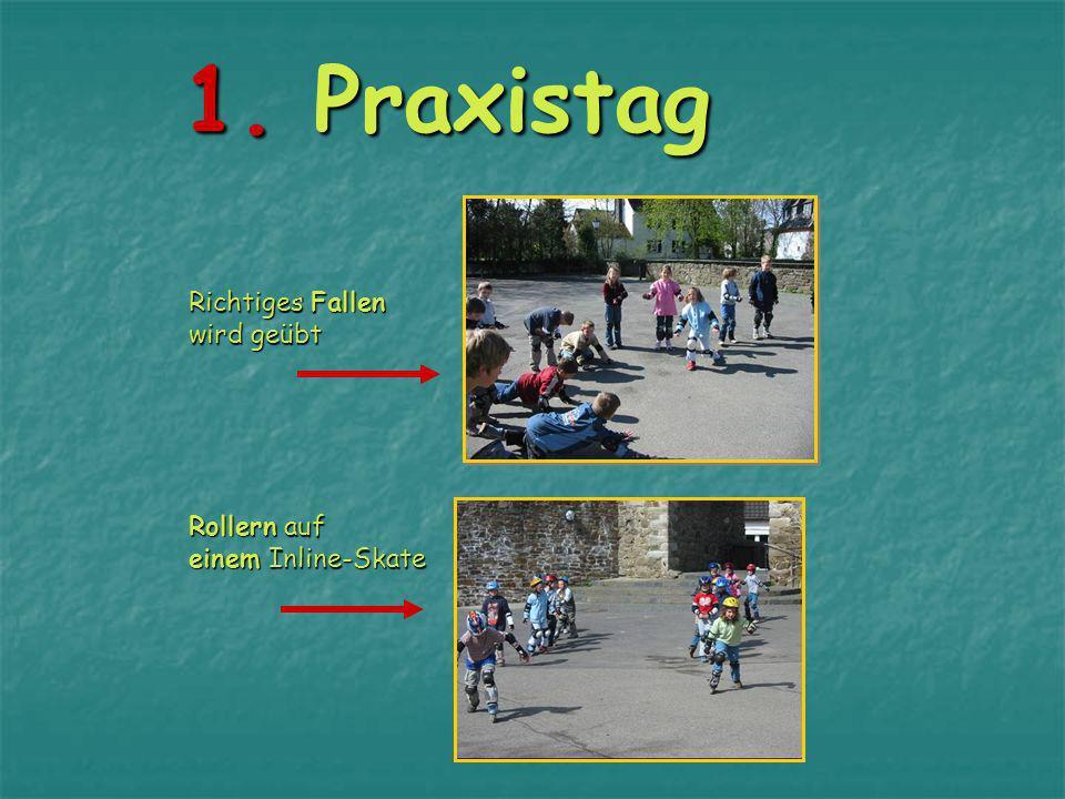 1.Praxistag Richtiges Fallen wird geübt Rollern auf einem Inline-Skate 1.