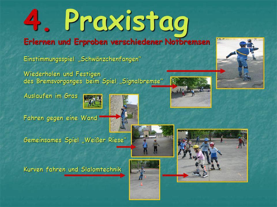 3. Praxistag Die Bremse Heel-Stop wird erlernt: Tool 1: Hockposition mit aufgestützten Händen Tool 2: Das Stopperbein wird nach vorne geschoben Verbin