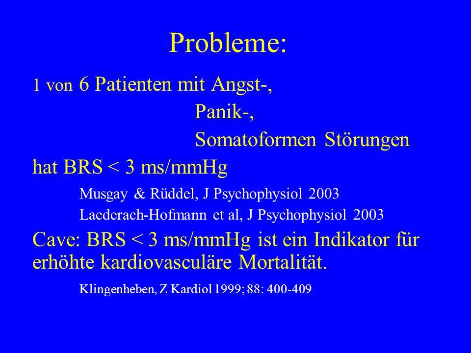 Probleme: 1 von 6 Patienten mit Angst-, Panik-, Somatoformen Störungen hat BRS < 3 ms/mmHg Musgay & Rüddel, J Psychophysiol 2003 Laederach-Hofmann et