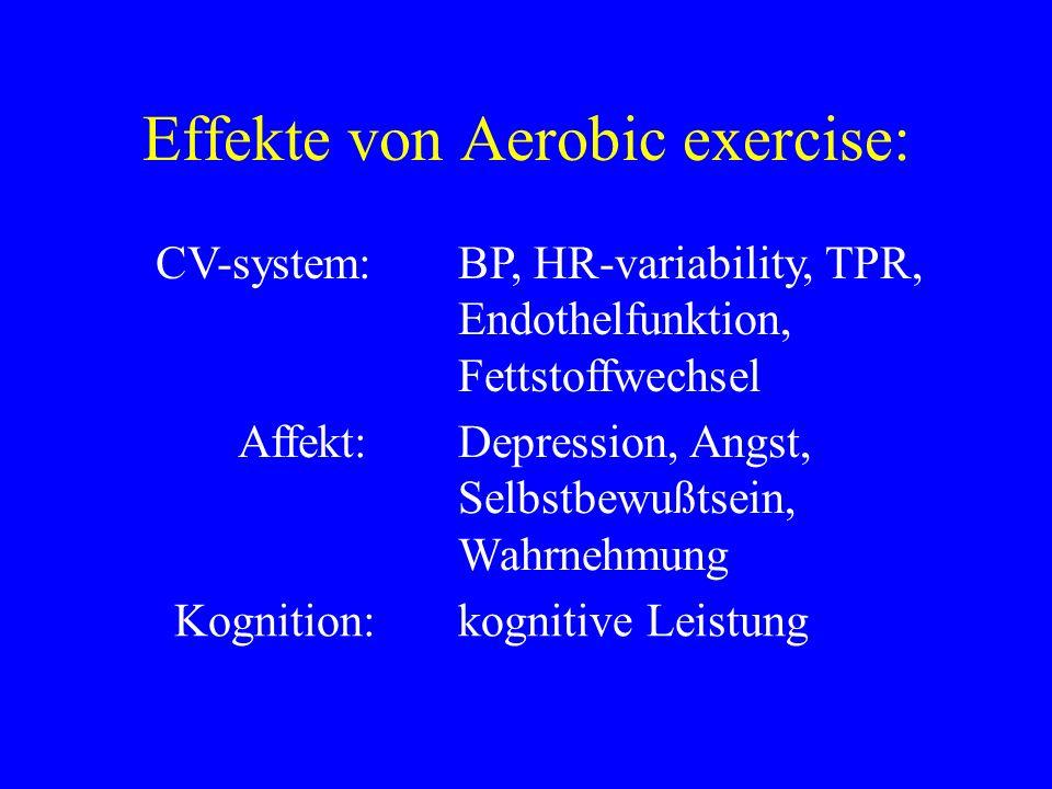 Effekte von Aerobic exercise: CV-system:BP, HR-variability, TPR, Endothelfunktion, Fettstoffwechsel Affekt:Depression, Angst, Selbstbewußtsein, Wahrne