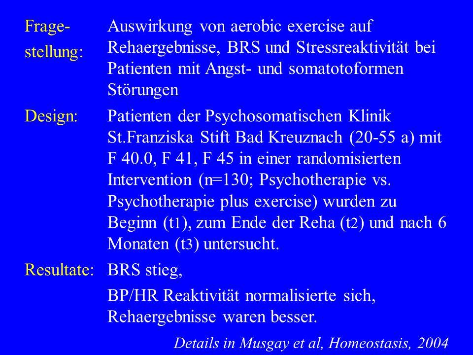 Frage- stellung: Auswirkung von aerobic exercise auf Rehaergebnisse, BRS und Stressreaktivität bei Patienten mit Angst- und somatotoformen Störungen D