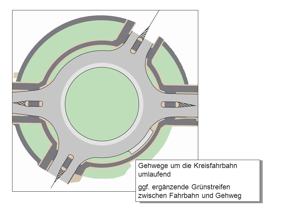 Gehwege um die Kreisfahrbahn umlaufend ggf. ergänzende Grünstreifen zwischen Fahrbahn und Gehweg