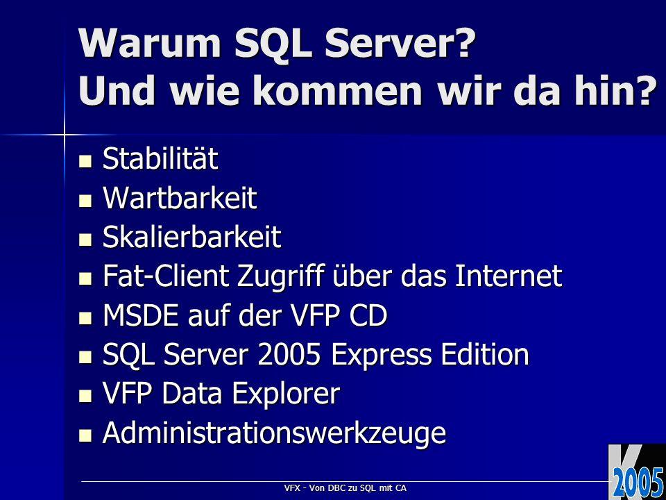 VFX - Von DBC zu SQL mit CA Warum SQL Server? Und wie kommen wir da hin? Stabilität Stabilität Wartbarkeit Wartbarkeit Skalierbarkeit Skalierbarkeit F