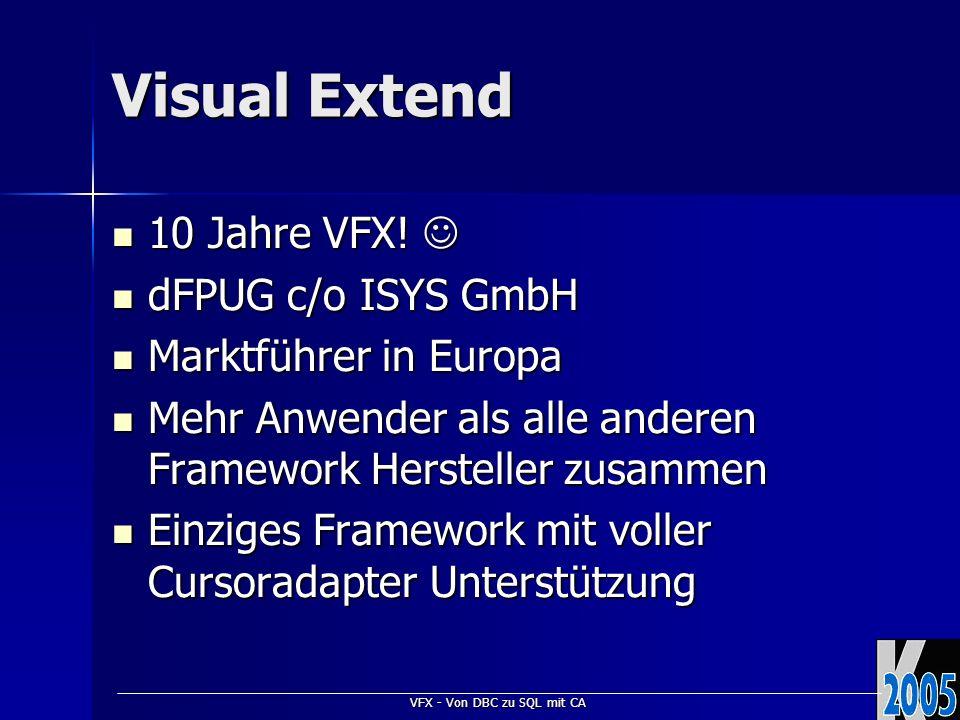 VFX - Von DBC zu SQL mit CA Visual Extend 10 Jahre VFX! 10 Jahre VFX! dFPUG c/o ISYS GmbH dFPUG c/o ISYS GmbH Marktführer in Europa Marktführer in Eur