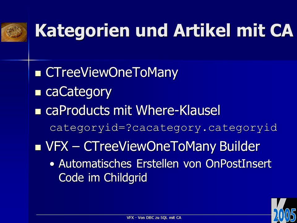 VFX - Von DBC zu SQL mit CA Kategorien und Artikel mit CA CTreeViewOneToMany CTreeViewOneToMany caCategory caCategory caProducts mit Where-Klausel caProducts mit Where-Klauselcategoryid= cacategory.categoryid VFX – CTreeViewOneToMany Builder VFX – CTreeViewOneToMany Builder Automatisches Erstellen von OnPostInsert Code im ChildgridAutomatisches Erstellen von OnPostInsert Code im Childgrid
