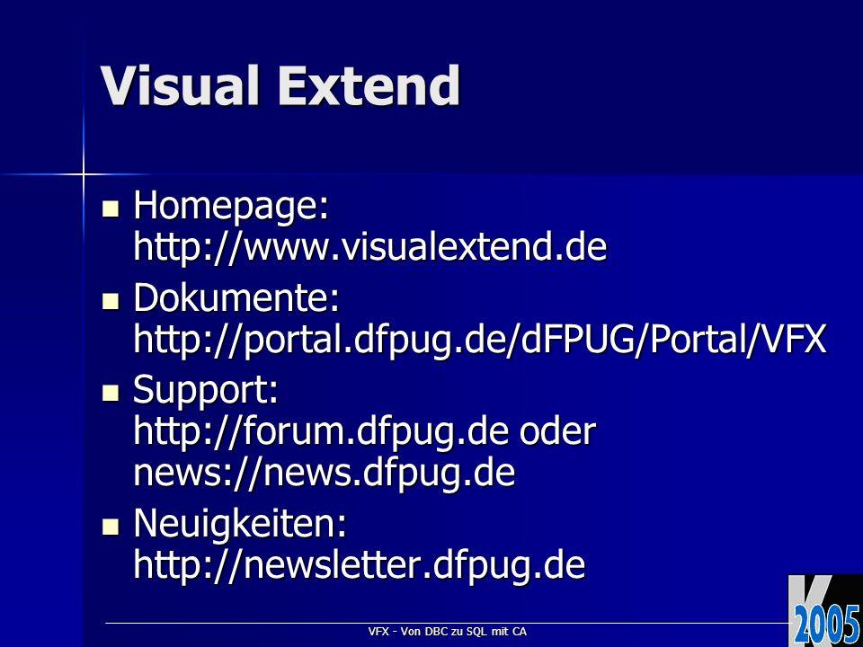VFX - Von DBC zu SQL mit CA VFX – Cursoradapter Wizard Automatische Generierung von CursorAdapter-Klassen zu allen Tabellen und Ansichten einer Datenbank Automatische Generierung von CursorAdapter-Klassen zu allen Tabellen und Ansichten einer Datenbank für VFP Datenbankenfür VFP Datenbanken für SQL Serverfür SQL Server Auswahl der Datenquelle Auswahl der Datenquelle Auswahl der Klassen und Klassenbibliotheken Auswahl der Klassen und Klassenbibliotheken Einstellungen aktualisierbarer Felder Einstellungen aktualisierbarer Felder