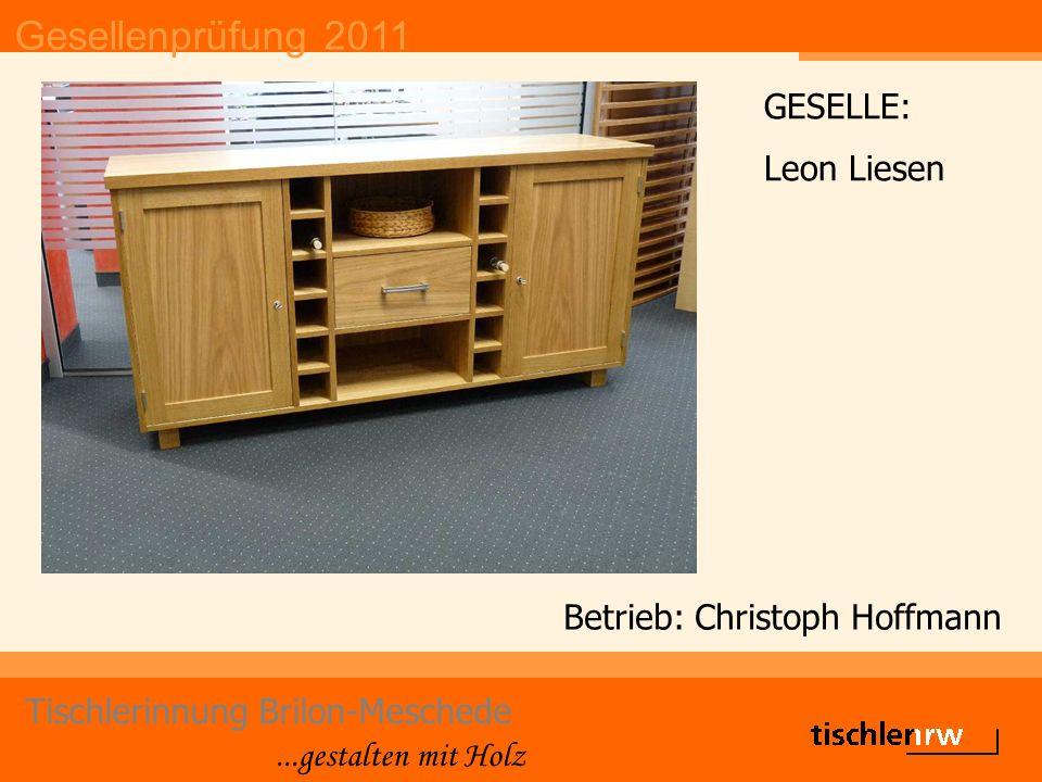 Gesellenprüfung 2011 Tischlerinnung Brilon-Meschede...gestalten mit Holz Betrieb: Christoph Hoffmann GESELLE: Leon Liesen