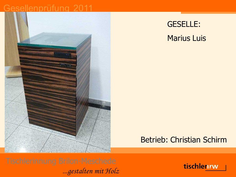 Gesellenprüfung 2011 Tischlerinnung Brilon-Meschede...gestalten mit Holz Betrieb: Christian Schirm GESELLE: Marius Luis