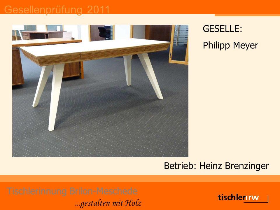 Gesellenprüfung 2011 Tischlerinnung Brilon-Meschede...gestalten mit Holz Betrieb: Heinz Brenzinger GESELLE: Philipp Meyer